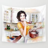 cook Wall Tapestries featuring cook by tatiana-teni
