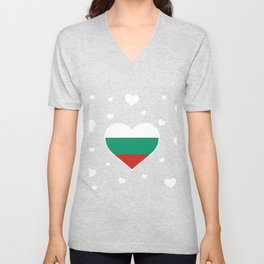 Bulgaria  love flag heart designs  Unisex V-Neck