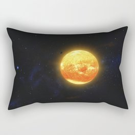 Space debris and gas planet orbiting red star. Outer Space, Cosmic Art and Science Fiction Concept. Rectangular Pillow