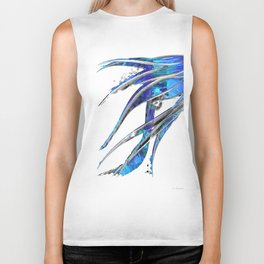Abstract Blue And White Art - Flowing 5 - Sharon Cummings Biker Tank