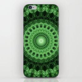 Pretty geometric green mandala iPhone Skin
