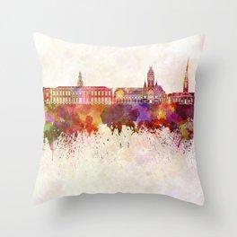 Harvard skyline in watercolor background Throw Pillow