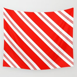 Candy Cane Stripes Holiday Pattern Wall Tapestry