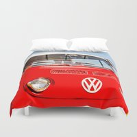 vw bus Duvet Covers featuring Red VW Bus Bold Print by Eye Shutter to Think Photography