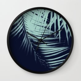 Palm Leaves Blue Summer Night Vibes #1 #tropical #decor #art #society6 Wall Clock