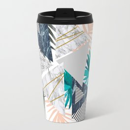 Abstract of geometric patterns with plants and marble II Travel Mug