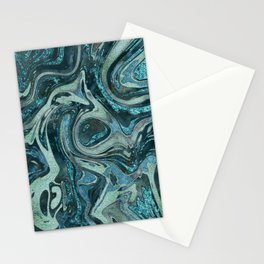 Magic Marble Gemstone Turquoise Teal Stationery Cards
