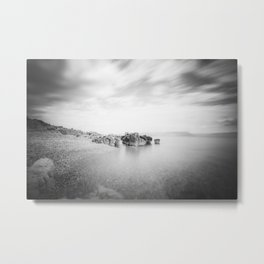 B&W long exposure of a beach in Rabac, Croatia Metal Print