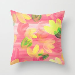 Vibrant Acrylic Painting Layered Tulips Floral Pattern Peach Pink Yellow Green Summer Time Throw Pillow
