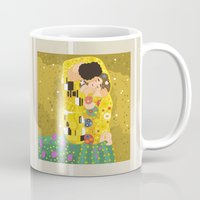gustav klimt Mugs featuring The Kiss (Lovers) by Gustav Klimt  by Alapapaju