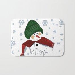 Let's build a snowman, let it snow Bath Mat