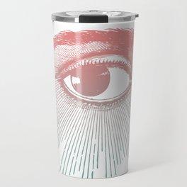 I See You. Pink Turquoise Gradient Sunburst Travel Mug