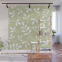 Assorted Leaf Silhouettes White on Lime Wall Mural