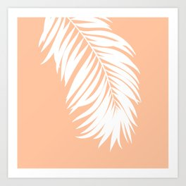 Palm Leaf White on Apricot Ice Art Print