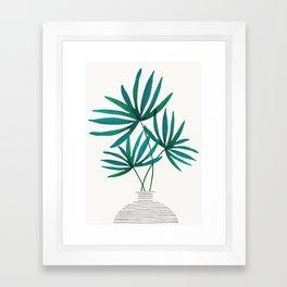 Fan Palm Fronds / Tropical Plant Illustration Framed Art Print