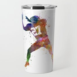 american football player man catching receiving silhouette Travel Mug