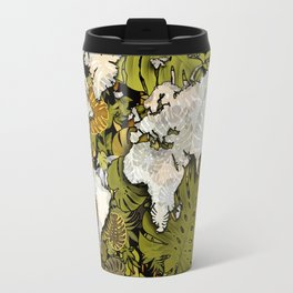 world map tropical leaves 5 Travel Mug