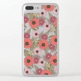 Girly blush pink coral gold modern floral Clear iPhone Case