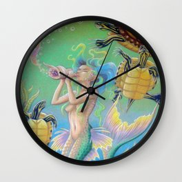 Song For Pseudemys, Turtle Mermaid Art Wall Clock