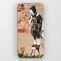 banksy iPhone & iPod Skins featuring Banksy - Girl on Stool by Brandon Funkhouser