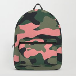 Girlie Green Pink Camouflage Backpack