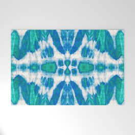 Tie-Dye Twos Aqua Welcome Mat
