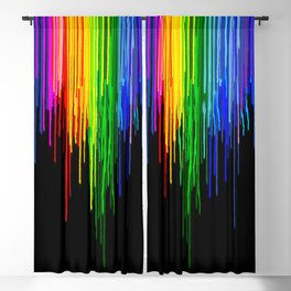 Rainbow Paint Drops on Black Blackout Curtain
