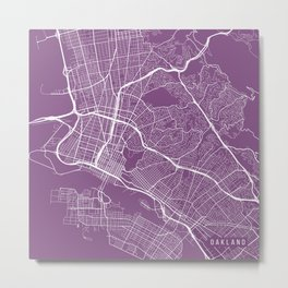 Oakland Map, USA - Purple Metal Print