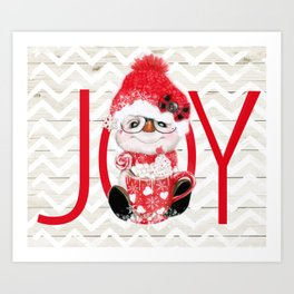 JOY - PEPPERMINT SNOWMAN Art Print