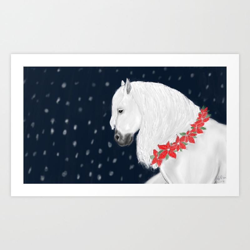 Christmas Horse Art Print By Lmallen Society6