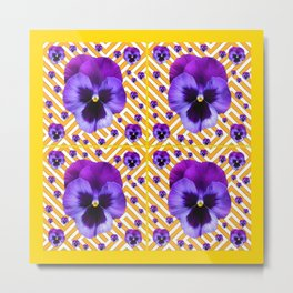 PURPLE PANSIES  FLOWERS & YELLOW PATTERNS  ART Metal Print