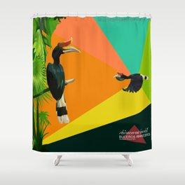 bucheros rhinoceros Shower Curtain