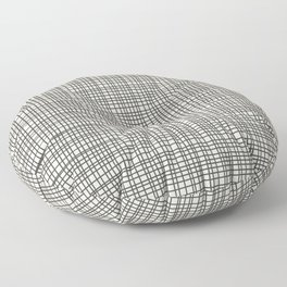 Fine Weave Mid-Century Modern Woven Pattern in Charcoal Gray and Almond Cream Floor Pillow