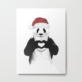 Santa panda Metal Print