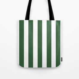 Hunter green - solid color - white vertical lines pattern Tote Bag