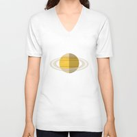 saturn V-neck T-shirts featuring Saturn by Oinkasaurus