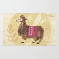 llama Area & Throw Rugs featuring Llama by Juliana Cuervo
