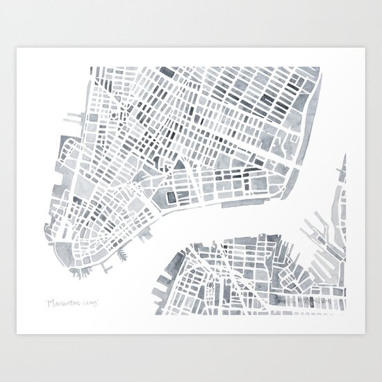 Map Manhattan Gray NYC Art Print