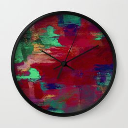 Crimson Overflow - Abstract, red, crimson, green, purple oil painting Wall Clock