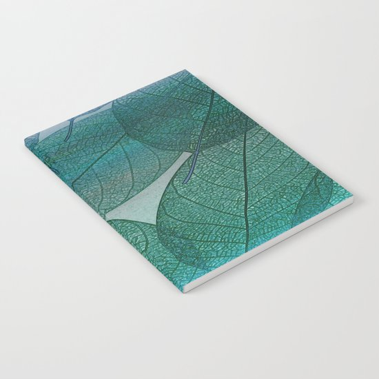 Painterly Green And Blue Leaf Abstract Notebook