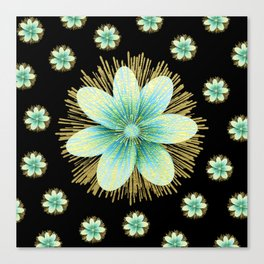 Gold Blue Black Flowers Floral Pattern Canvas Print