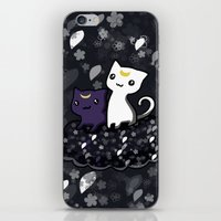 sailormoon iPhone & iPod Skins featuring Sailormoon Luna and Artemis by Mayying