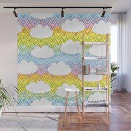 Kawaii white clouds and rainbow sky Wall Mural