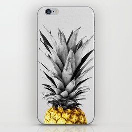 Gray and golden pineapple iPhone Skin