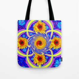 Artistic Blue-Red-Yellow Sunflower Whirl Pool Tote Bag