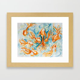 Sparkly Gold Goldfish watercolor by CheyAnne Sexton Framed Art Print
