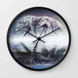 Black and White Wolf Reflection Wall Clock