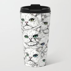 White Kitty Faces Metal Travel Mug