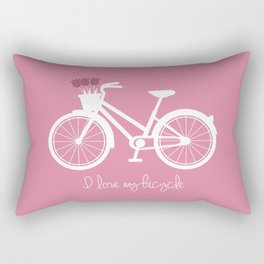 L LOVE MY BICYCLE PINK Rectangular Pillow