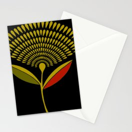 Mid Century Modern Dandelion Seed Head In Aspen Gold Stationery Cards